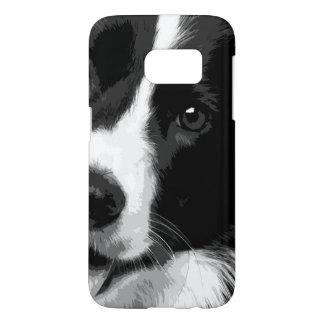 A black and white Border collie Samsung Galaxy S7 Case