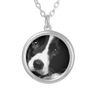 A black and white Border collie Silver Plated Necklace