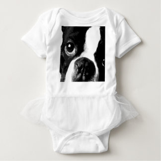 A black and white Boston terrier Baby Bodysuit