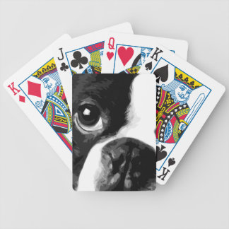 A black and white Boston terrier Bicycle Playing Cards