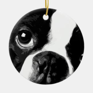 A black and white Boston terrier Ceramic Ornament