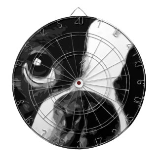 A black and white Boston terrier Dartboard