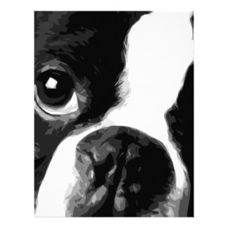 A black and white Boston terrier Letterhead