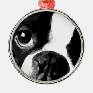 A black and white Boston terrier Metal Ornament