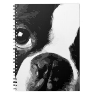 A black and white Boston terrier Notebook