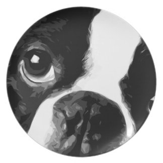 A black and white Boston terrier Plate