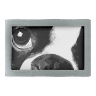 A black and white Boston terrier Rectangular Belt Buckles
