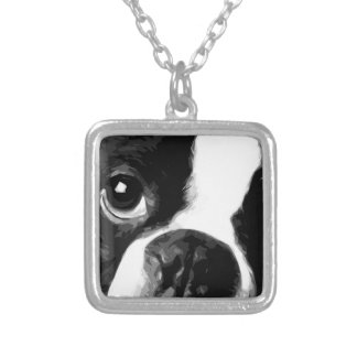 A black and white Boston terrier Silver Plated Necklace