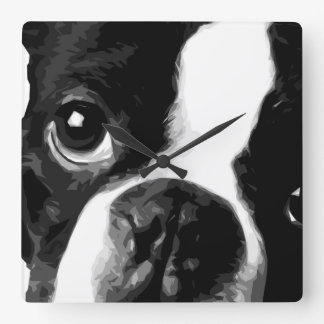 A black and white Boston terrier Square Wall Clock