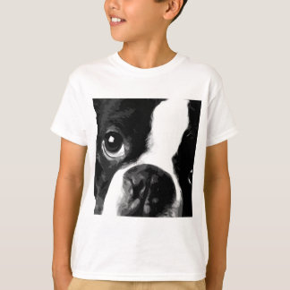 A black and white Boston terrier T-Shirt