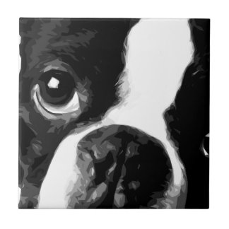 A black and white Boston terrier Tile