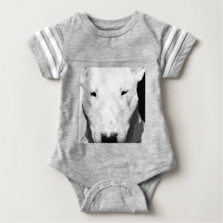 A black and white Bull terrier Baby Bodysuit