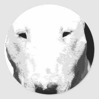 A black and white Bull terrier Classic Round Sticker