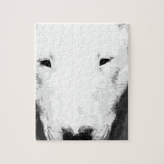 A black and white Bull terrier Jigsaw Puzzle
