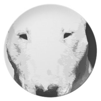 A black and white Bull terrier Plate