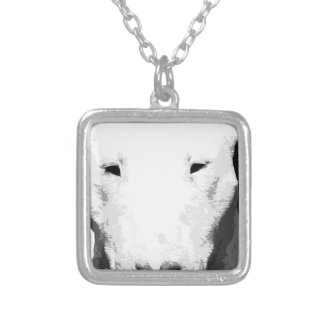 A black and white Bull terrier Silver Plated Necklace