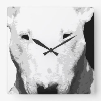 A black and white Bull terrier Square Wall Clock