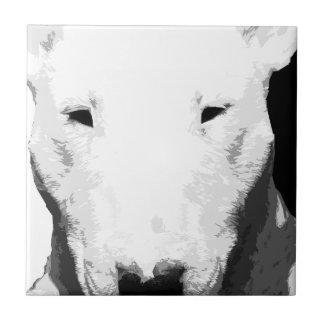 A black and white Bull terrier Tile
