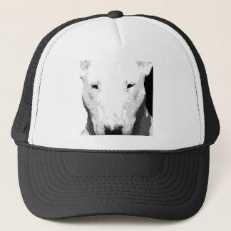 A black and white Bull terrier Trucker Hat
