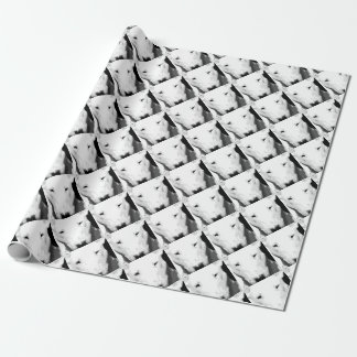 A black and white Bull terrier Wrapping Paper