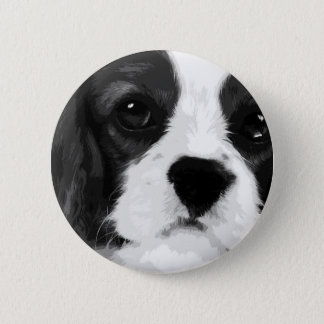 A black and white Cavalier king charles spaniel 2 Inch Round Button