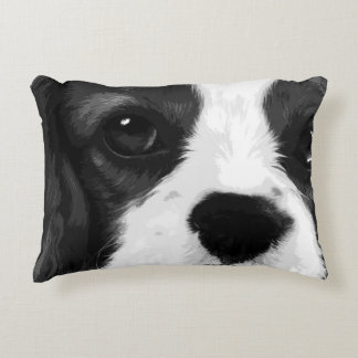 A black and white Cavalier king charles spaniel Accent Pillow