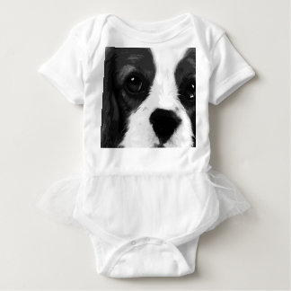 A black and white Cavalier king charles spaniel Baby Bodysuit
