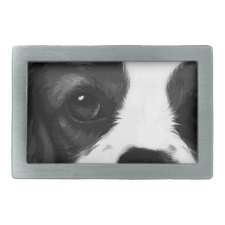 A black and white Cavalier king charles spaniel Belt Buckle