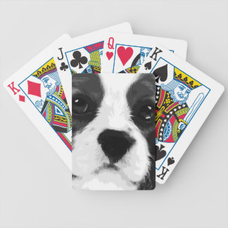 A black and white Cavalier king charles spaniel Bicycle Playing Cards