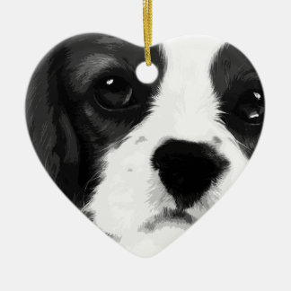 A black and white Cavalier king charles spaniel Ceramic Ornament