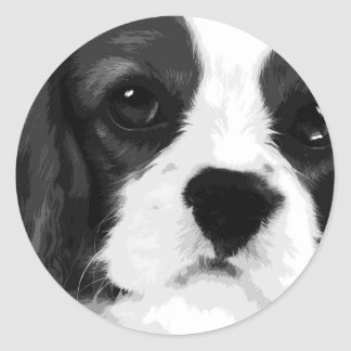 A black and white Cavalier king charles spaniel Classic Round Sticker
