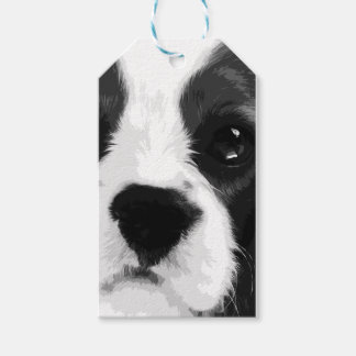 A black and white Cavalier king charles spaniel Gift Tags