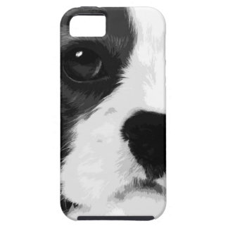 A black and white Cavalier king charles spaniel iPhone 5 Case