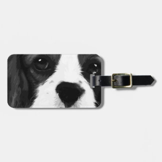 A black and white Cavalier king charles spaniel Luggage Tag