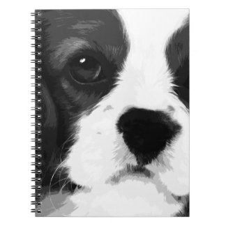 A black and white Cavalier king charles spaniel Notebooks
