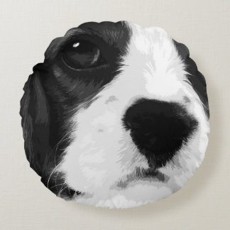 A black and white Cavalier king charles spaniel Round Pillow