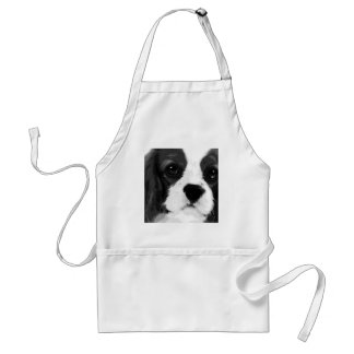 A black and white Cavalier king charles spaniel Standard Apron