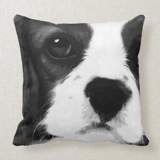 A black and white Cavalier king charles spaniel Throw Pillow