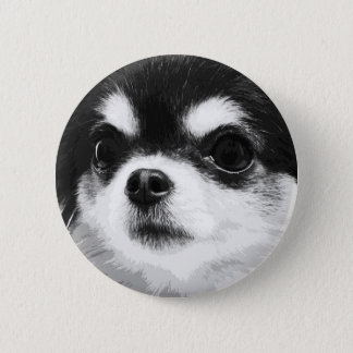 A black and white Chihuahua 2 Inch Round Button
