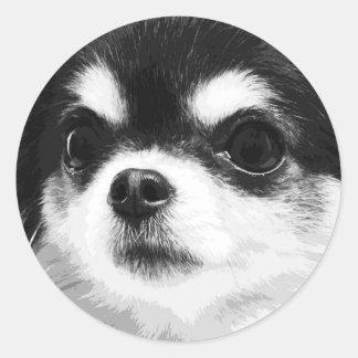 A black and white Chihuahua Classic Round Sticker