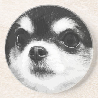A black and white Chihuahua Coaster