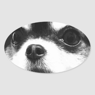 A black and white Chihuahua Oval Sticker