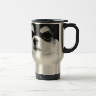 A black and white Chihuahua Travel Mug