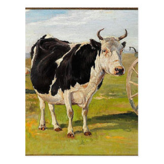 A black-and-white cow by Theodor Philipsen Postcard