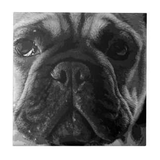 A black and white French bulldog Tile
