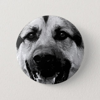 A black and white German Shepherd Dog 2 Inch Round Button