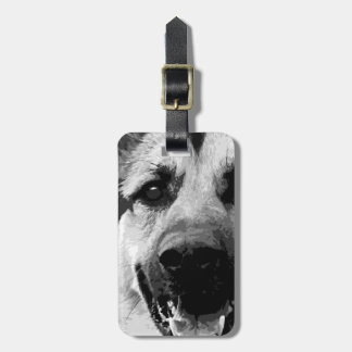 A black and white German Shepherd Dog Luggage Tag