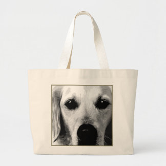A black and white Golden retriever Large Tote Bag