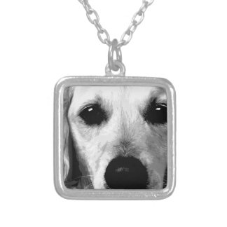 A black and white Golden retriever Silver Plated Necklace