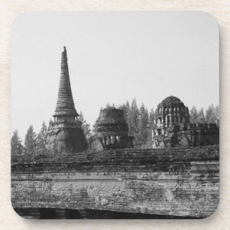 A black and white image of an old temple. coaster
